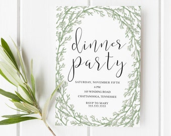 Dinner Party Invitation Printable- Floral Greenery Dinner Party Invitation, Dinner Party Invitation,Party Invitation,Dinner Party Printable