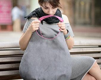 graue PLUS - Hobo Umhängetasche, farbintensive Einkaufstasche