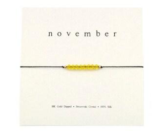 November Birthstone Bracelet, Birthstone Jewelry, Citrine Yellow, Silk Bracelet, Dainty Adjustable Bracelet, Birthday Jewelry, Birthday Gift
