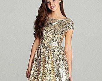 Full sequin short boat neck bridesmaid or junior dress with short sleeves and flared skater skirt