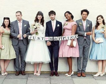 Just Married Banner/Just Married Bunting/Just Married sign/Garland/wedding photo prop/wedding reception  decorations/just married car sign