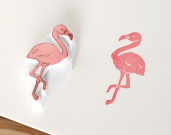 Flamingo rubber stamp. Hand carved stamp. Handmade stamp. Unmounted stamp. Cute stamp for gift wrap, scrap booking.
