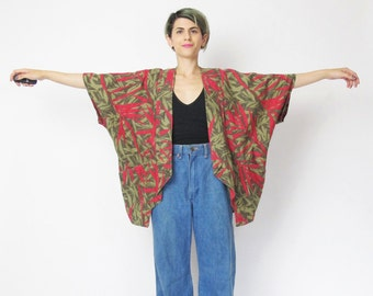 1980s Cocoon Duster Jacket Tropical Print Palm Leaves Summer Jacket Cotton Batwing Draped Front Jacket Red Brown Cardigan with Pockets (M/L)