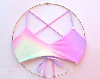 Pastel Rainbow Unicorn Ombre Adjustable Bikini Top - Reversible, wear two ways - Rainbow swimwear