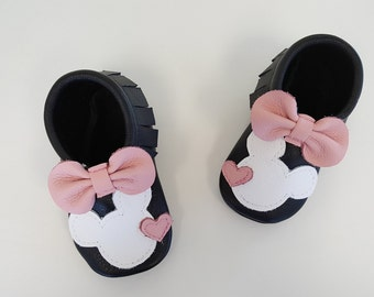 Black & Pink Minnie Mouse Moccasins