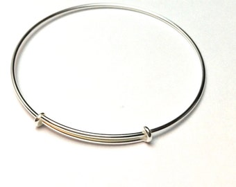 Sterling Silver Adjustable Bangle - Charm bangle