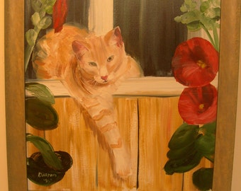 """Original Signed Painting Tabby Cat Lillies 1995 Framed 21"""" X 25"""""""