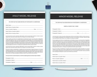 Photography Model Release Forms | Adult and Minor model release | Photoshop & MS Word Template | Instant Download
