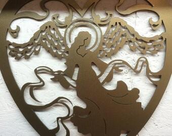 Heart and Angel metal art