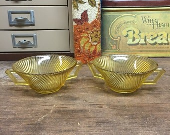 Vintage Amber Glass Bowls with Handles