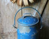 ANTIQUE Vintage Blue MILK CAN