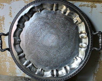 SILVER SERVING TRAY-Silverplate with Decorative Detail