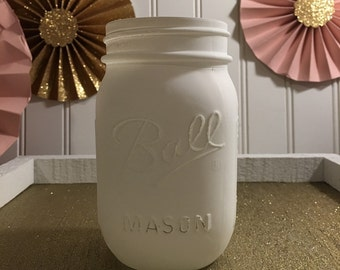 White Chalk  Mason Jar! Wedding , Birthday Party  , Bridal Shower, Home decor , Office,Glass