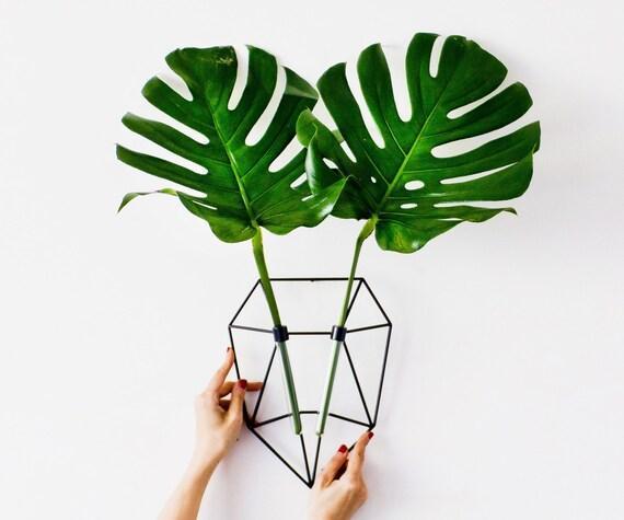Geometric Metal Planter,  Plant Holder, Wall Planter , Wall Planter Deer Head, Deer Flower vase, Black deer head