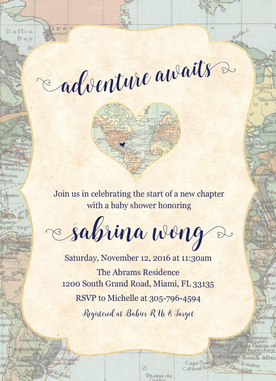 World Baby Shower Invitation Map Travel Baby Shower Invitation Adventure Awaits Invitation Gender Neutral Baby Shower Invite Printable