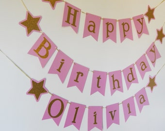 Pink and Gold Glitter Happy Birthday Banner, Personalized Birthday Banner, Gold Star Birthday, Twinkle Twinkle Little Star
