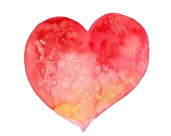 Heart art print, heart wall art, watercolor print, nursery print, nursery watercolor