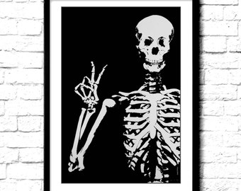 Skull print Poster Skeleton skull art print Peace sign cool poster grateful Dead gift for deadhead