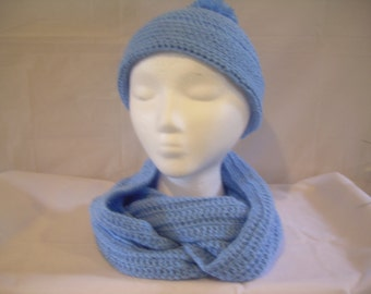 Blue crochet hat and scarf set