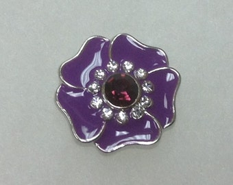 New! PURPLE FLOWER Snap with RHINESTONES ...fits 18-20mm