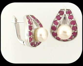 New Heavy 925 Sterling Silver White Pearl & Ruby Huggie Earrings