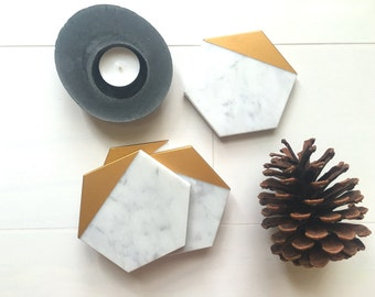 Hexagon Marble Coasters. Set of 4. Bianco Gioia Gold Painted Honed Marble. Natural Stone Coasters. Geometric Coasters