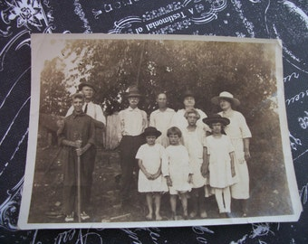 Original Vintage 1920's Sepia Tone Photograph of Family Outting in the Country - Aug 13 - 1922
