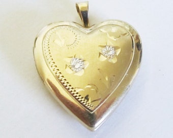 Vintage 14k Yellow Gold Heart Locket Pendant/ White Gold Flower Accents/ Valentines Day