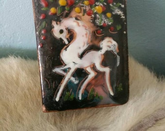 Brass enameld matcbox holder with white horse vintage