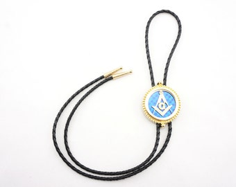 Gold Plated Mason Masonic Western Cowboy Rodeo Bolo Tie