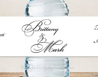 """Personalized Water Bottle Labels - 100% Waterproof - Script Font Always and Forever- Wedding Favors 2""""x8.5"""" self-stick labels - Choose Color"""