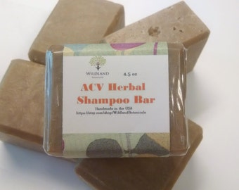 ACV Herbal Shampoo Bar, NoPoo, Apple Cider Vinegar, Vegan, Dandruff, Damaged Hair,  DHT Blocker, Flaky Scalp, Gentle Shampoo, Regrow Hair