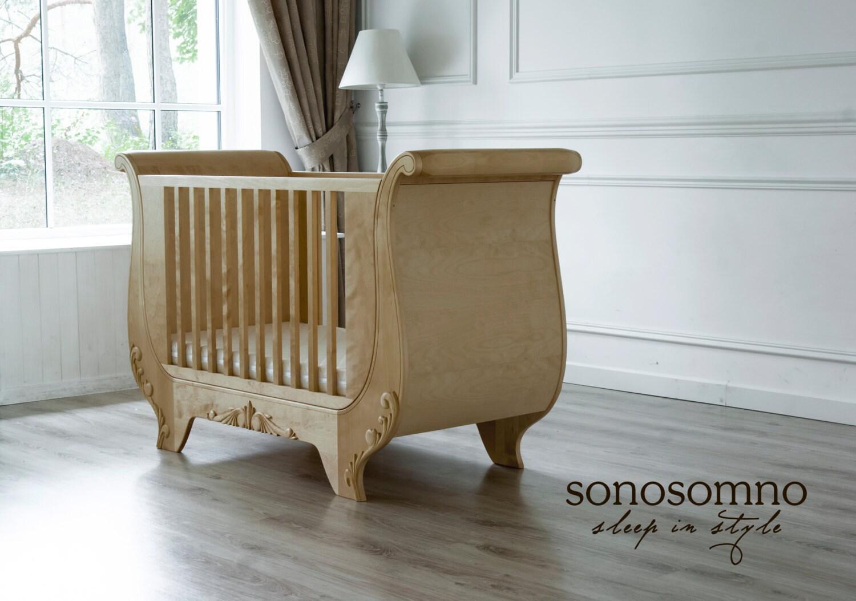 Cot Bed Solid Birch Wood Nursery Furniture Luxury