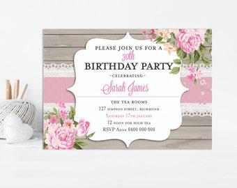 Adult Birthday Invitation, Floral Invitation, Floral Birthday, Printable Invitation, Birthday Party, Surprise Birthday, Adult Invitation