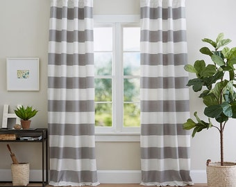 """Grey and white, horizontal 6"""" cabana stripes, curtains, Pair unlined drapes, (two 50W panels) and two free pillow covers,"""