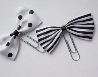 Black & White Bow Planner Paperclips