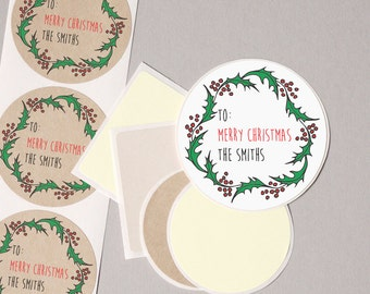 "to from Christmas label stickers Christmas Holly Wreath personalized round 12 large 2.5"" or 20 medium 2"" gift wrap seals modern minimalist"