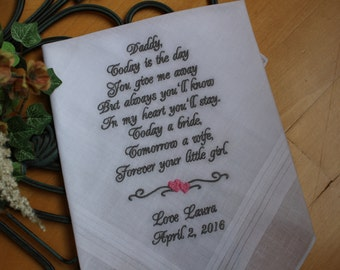 father of the bride gift from bride, Father of the bride handkerchief,Dad wedding hankies.Thoughtful Gift for Dad. MS1F38