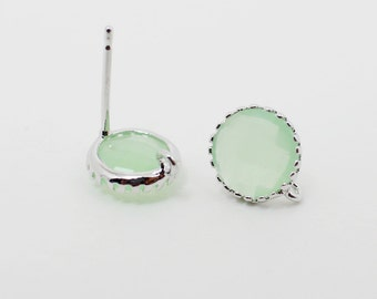 E008610/Light Mint/Faceted Glass +Rhodium Plated Over Brass Frame+Sterling Silver Post/Tooth Framed Circle Glass Earrings/9x 9mm/2pcs
