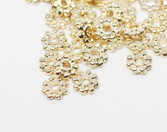 B0016/Anti-Tarnished Gold Plating Over Brass/Mini Ripped Metal Rondelle/4mm/40pcs