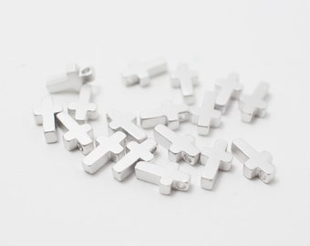 P0212/Anti-Tarnished Matte Rhodium Plating Over Brass/Cross beads/6x9mm/4pcs