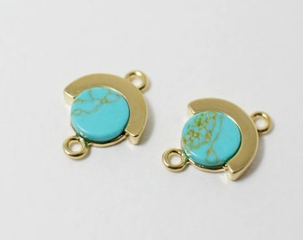 P0293/Anti-Tarnished Gold Plating Over Brass + turquoise Stone/Circle Shape turquoise Stone Pendant Connector/11x 14mm/2pcs