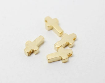 P0212/Anti-Tarnished Matte Gold Plating Over Brass/Cross beads/6x9mm/4pcs