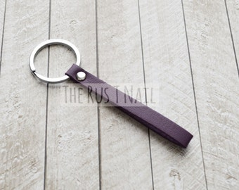 Purple Skinny Minimalist Leather Keychain - Silver Accented Leather Key Chain - Slim Leather Keychain