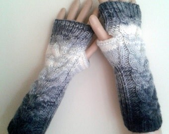 New Year, Christmas, batik color black, Fingerless Hand-Knitted Fingerless  Gloves Winter Accessories  / WORLDACCESSORY