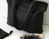 Black bag, big bag with pockets, women bag, large bag, shoulder bag, handbag, shopper bag,  women purse, vegan leather