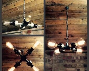 VINTAGE Industrial pendant chandelier ceiling light warehouse restaurant bar pub 4 x e27 screw edison filament lamps included rustic retro