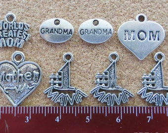 Mom, Mother, Grandmother Charms Pendants; Silver Toned Zinc Alloy; Set of 12