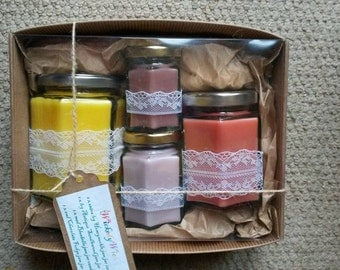 4  scented Jam Jar Candle gift box