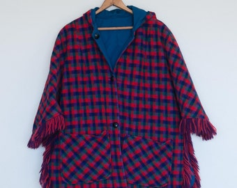 Retro Red and Blue Plaid Reversible Poncho Cape with Fringe and Hood